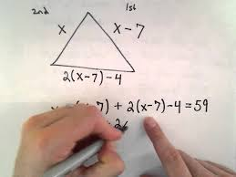 linear equation word problem 4 side lengths of a triangle