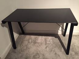 argos falco black glass office desk table
