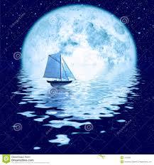 beautiful full moon under ocean with sailing ship