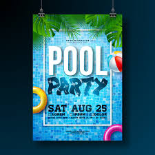 Poster Design Party Summer Pool Party Poster Design Template With Palm Leaves