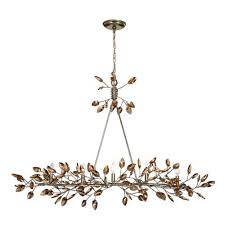 zeev lighting misthaven silver leaf with and antique gold paint and champagne crystals 5 light