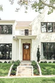 Painted Brick Houses Classic Modern Off White Painted Brick House With Wood  Door And Black Windows Click To See The Full Home Tour Painted Brick Houses  ...
