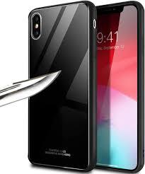 iPhone Xs Max用ケース、WATACHE 強化ガラスバックパネル&ソフトTPUバンパーハイブリッドスリムフィット落下保護傷防止耐衝撃ケース  Apple iPhone Xs Max (6.5インチ) iPhone Xs Max ブラック APG0121 | ケース・カバー 通販 -  Amazon