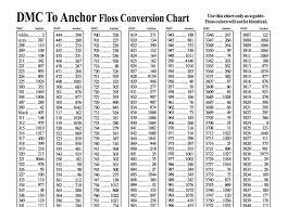 Dmc Chart Dmc To Anchor Conversion Chart Cross Stitch Thread