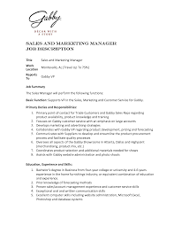 Sales And Marketing Job Description Resume Best Ideas Of Sales and Marketing Job Description Marvelous Sales 2