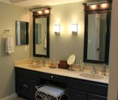 outstanding black vanity light fixtures bathroom with long mirror and lamp on