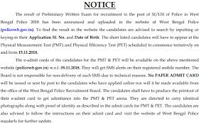 West Bengal Police Si Lsi Physical Standard 2019 Pet Admit