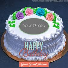 Customized Strawberry Birthday Cake With Photo And Name Wish
