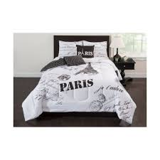 paris bedding comforter set microfiber full size 5 piece shams bed in bag