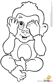 Monkey Coloring Page Printable 1