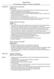 Hotel Assistant Manager Resume Samples Velvet Jobs Cv S