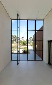 oversized metal frame glass front doors