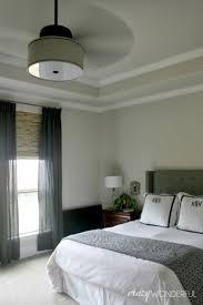 bedroom decor ceiling fan. Modern Bedroom Decor With DIY Drum Shade Ceiling Fan, Full Size Gray Bed, Fan E