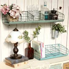 Vintage Loft Rustic Distressed Green Divided Metal Wire Wall Hanging  Storage Shelf