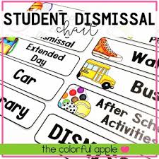 Dismissal Chart Student Dismissal Chart