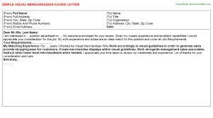 Visual Merchandiser Cover Letters Visual Merchandiser Job Cover Letter