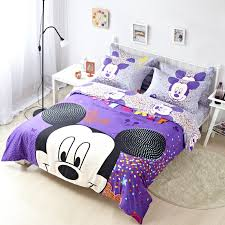 purple mickey mouse full queen size duvet cover cotton bedding