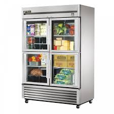 True TS-49G-4 double half glass door commercial refrigerator.