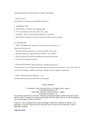 Elementry Lesson Plans Lesson Plan Pattern For All Demo Teaching