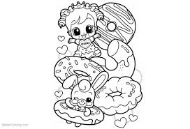 Cute Food Coloring Pages Girl Rabbit And Donuts Free Printable