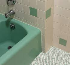 Retro Bathroom Faucets Vintage Green Bathroom White And Green Hex Tile Bathrooms