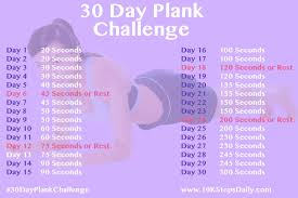 24 Day Challenge Chart 30 Day Plank Challenge 10 000 Steps Daily