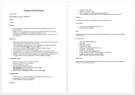 Modeling Resume 1 Modeling Career Resume