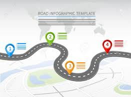 Road Infographic Template With A Curvy Road And Four Pointers