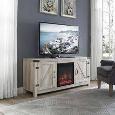 white oak barn door fireplace tv stand