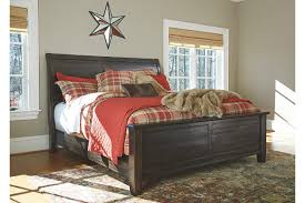 sleigh bed furniture. townser dark brown sleigh bed bedroom furniture e