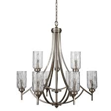 allen roth latchbury 3224in 9light brushed nickel craftsman textured glass tiered and chandelier t10