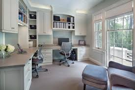 home office with two desks. Modren Home Master Sweet Blue Transitionalhomeoffice To Home Office With Two Desks O