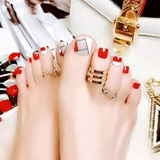 Cugap 24pcs False Toe Nails French Full Toenails Feet Nail Art Fake Decoration J94 For Women Teens Girls