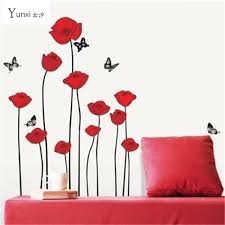 yunxi red poppy removable wall decals home decor art flower vinyl mural wall stickers 60  on poppy wall art stickers with yunxi red poppy removable wall decals home decor art flower vinyl