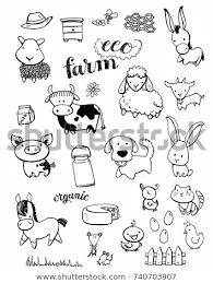 cute farm animals drawings. Unique Farm Hand Drawn Cute Farm Animals With Cute Farm Animals Drawings F