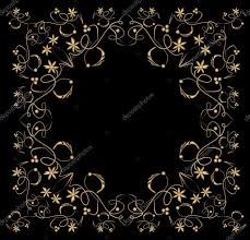 embossed filigree golden frame on black background classic vintage patterns with flower swirl and