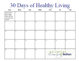 Online Weight Loss Charts Printable Fitness Calendar 30 Days Of Healthy Living Jen