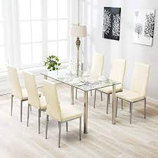 mecor 7 piece kitchen table set gl top with 6 steel frame high back pu