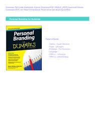 Pdf Personal Branding For Dummies Download Pdf