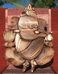 hand carved ganesh wall hanging