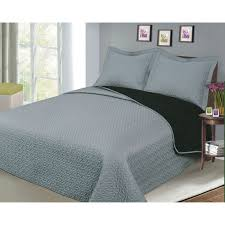 luxury fashionable reversible solid color bedding quilt set black grey com
