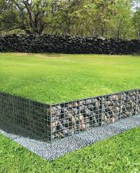 low gabion wall with lawn over top of