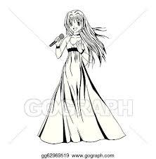 Vector Art Anime Girl Singer Clipart Drawing Gg62969519 Gograph