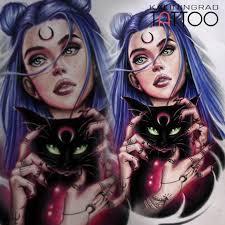 эскиз девушки с кошкой для женской татуировки скидка до 50