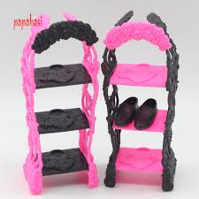 Kids Playhouse Shoes Rack For Barbie Doll Storage Racks For