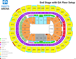 Stage Ae Pittsburgh Seating Chart Iron Maiden Ppg Paints Arena