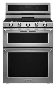 double oven gas range. KitchenAid 30-in 5-Burner 3.9-cu Ft / 2.1-cu Double Oven Gas Range N