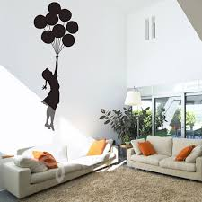 banksy floating balloons vinyl wall decal wall mural wall art stickers home decor free shipping large size 35 x100cm in wall stickers from home garden on  on wall art images home decor with banksy floating balloons vinyl wall decal wall mural wall art