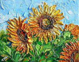 acrylic impasto sunflower original acrylic painting on canvas impasto fl abstract art palette knife modern homemade acrylic impasto medium