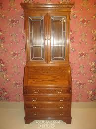 ethan allen canterbury oak lighted dropfront secretary desk 28 9407